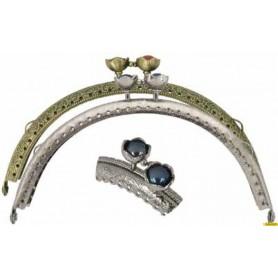 Cierre metalico bolso con aplique de color plata y azul 7,5cm alto/ 12,5cm ancho