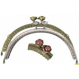 Cierre metalico bolso con aplique de color oro viejo y rojo 7,5cm alto/ 12,5cm ancho