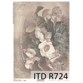 Papel Arroz Flores Vitange Subtitulos 30x21cm