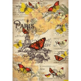Papel de Arroz Mariposas En Paris 30x41cm
