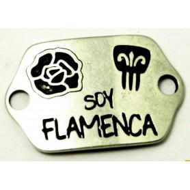 Chapa Soy Flamenca, con Peineta y Flor. Ext. 26x33cm