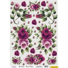 Papel de Arroz Rosas y Capullos Rosas 30x41cm