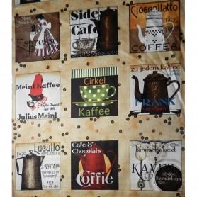 "Tela algodon para patchwork  ""Coleccion Daily Grind""  cuadros cafetera, tazas de cafe. Anchura 1,10 cm.  Cada 10 cm"
