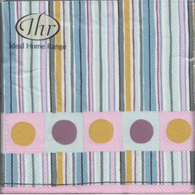 Servilleta impresa Dots & Stripes. Medida 33x33cm