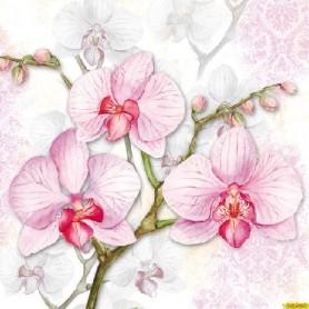 Servilleta impresa Orchids Lilac. Medida 33x33cm. Medida 33x33cm