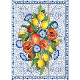 Papel de arroz Colección Ceramica, Azulejos con Granadas y Limones 35x50cm. Ref. TCR28