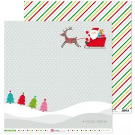 """Papel Scrapbooking  Papa Noel Colección Feliz Navidad Anita y Su mundo 12X12"""" pulgadas."""