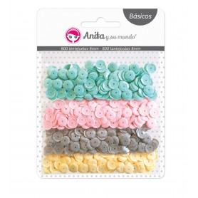 Pack de 800 Lentejuelas Anita y Su Mundo Colores Pastel, 8mm