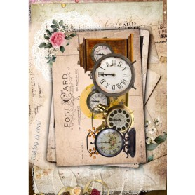 Papel de Arroz Cadence Relojes Post Card 30x41 cm Ref. 549