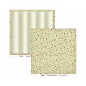 "Papel scrapbooking Dayka ""Flores y rayas"" 30,5x31,5 cm"