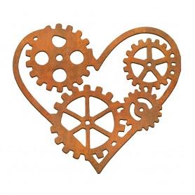 Siluetas madera Corazón Engranajes 12x10 cm