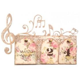 Siluetas madera Calendario Perpetuo Música 30x20x3 cm