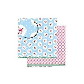 """Papel Scrapbooking Coleccion """"Shabby Chic"""" Florecillas Fondo Azul Lunares 30x30 cm Ref. 2394041"""