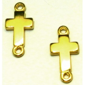Conector Cruz Lisa Dorado Ext. 25x12mm