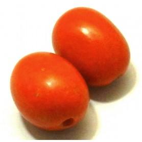 Abalorio Semilla Alargado Naranja, 20x15mm, Pase 15mm