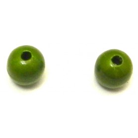 Cuenta Madera Verde, 14mm, Pase 3mm