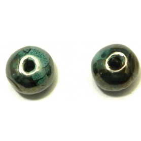 Abalorio Cerámica Turquesa, 18mm, Pase 3mm