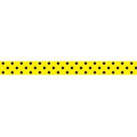Cuero Estampado 13mm Lunares Fondo Amarillo (Tira 19 cm.)