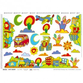 Papel TO-DO Decoupage Infantil Coches Autobuses Paisajes 50X70 cm. Ref. 230