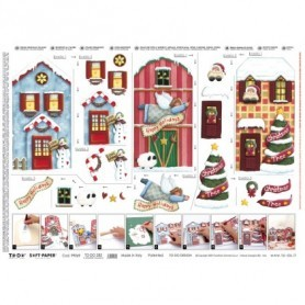 Papel TO-DO Decoupage Navidad Casitas Acebo 50X70 cm. Ref. 285