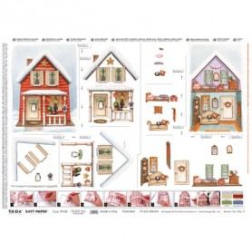 Papel TO-DO Decoupage Navidad Casa Nieve Interior y Exterior 50X70 cm. Ref. 316