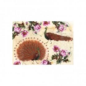 Papel de arroz Colección Rusty Chic, Peonias, Pavos Reales 35x50cm. Ref. TCR47