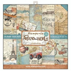 Colección Around the world 10 papeles Scrapbooking 30,5cmX30,5cm dos caras