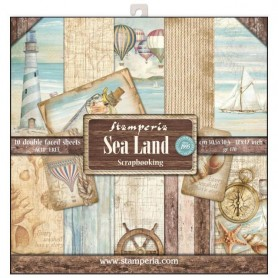 Coleccion Sea Land 10 papeles Scrapbooking 30,5x30,5cm dos caras