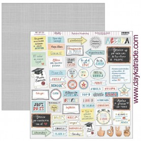 "Papel scrapbooking Dayka ""Textos y Frases"" 30,5x31,5 cm"