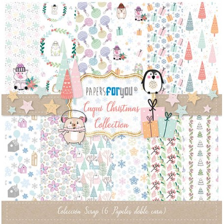 Coleccion Cuqui Chistmas Collection 6 papeles Scrapbooking 30x30cm dos caras