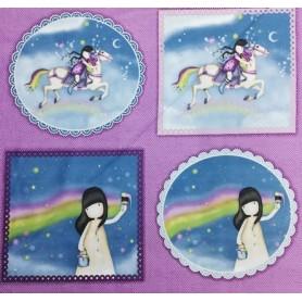 """Tela algodon para patchwork Santoro """"Coleccion Rainbow Dreams"""" panel muñecas y caballos . Ancho 1,10 cm. Cada 10 cm"""