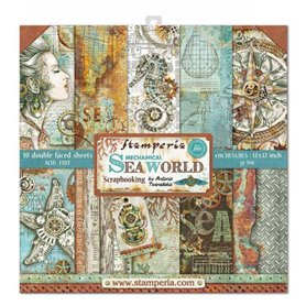 Colección Scrapbooking Mechanical Sea World  Scrapbooking 30,5x30,5cm dos caras
