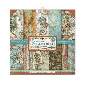 Colección Scrapbooking Mechanical Sea World  Scrapbooking 20,3x20,3cm dos caras