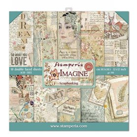 Coleccion Imagine 10 papeles Scrapbooking 30x30cm dos caras