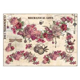 Papel de arroz Colección Romantic Steampunk Flores, relojes, animales 35x50cm. Ref. TCR57