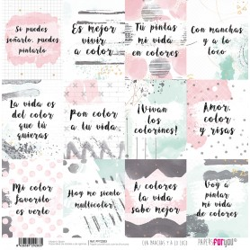 Papel Con Manchas y A A Loco Collection frases Scrapbooking 30x30cm dos caras