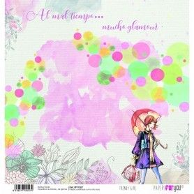 Papel Trendy Girl Muñeca Paraguas Collection Scrapbooking 30x30cm dos caras