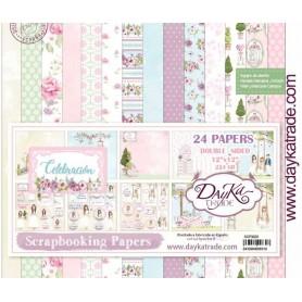 Colección 24 hojas Papel scrap Dayka Celebración Comunión Niña 30x30cm