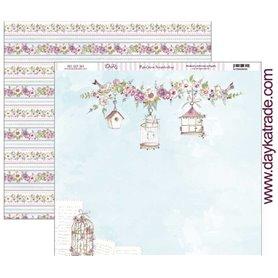 "Papel scrapbooking Dayka ""Celebracion Jaulas y Flores""  30,5x31,5 cm"