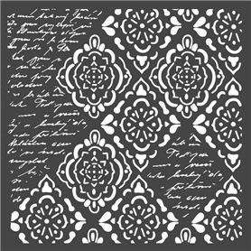 Stencil Mix Media Rombos y Escrituras 18x18cm