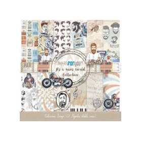 Coleccion It´s a Man World Collection 12 papeles Scrapbooking 30x30cm dos caras