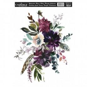 Transfer Tela Ramo Flores Variadas Watercolor Flowers 25x35 cm
