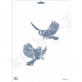 "Plantilla Stencil DIN A4 ""Pareja colibris"""