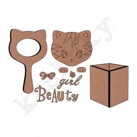 conjunto espejo gato con cubilote