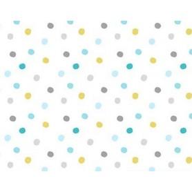 Tela Patchwork 100% Algodon Blanca Con Lunares Azules y Amarillos. Ancho 1,10 M. VENTA DE 10 EN 10 CM