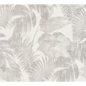 Papel Empapelar New Walls Colección Cosy & Relax Hojas Grises, fondo blanco. (medidas 10,05x0,53m)