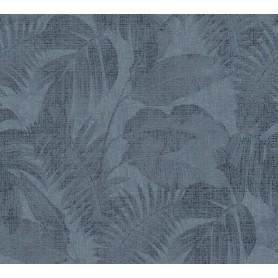 Papel Empapelar New Walls Colección Cosy & Relax Hojas y Fondo Azul. (medidas 10,05x0,53m)