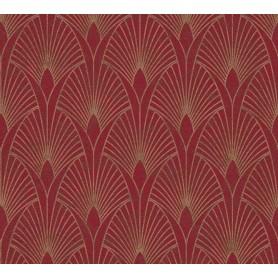 Rollo Papel Empapelar Coleccion 50s Glam Flores Geometricas Oro f/granate (10,05x0.53m)