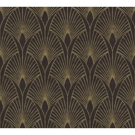 Rollo Papel Empapelar Coleccion 50s Glam Flores Geometricas Oro f/Negro (10,05x0.53m)