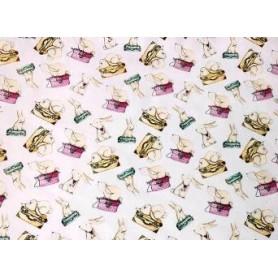 Tela 100% Algodón Maletas y Conejos de Mimi La Musa, El Altillo De Los Duendes Anchura 1.50m. Venta de 10 en 10 cm